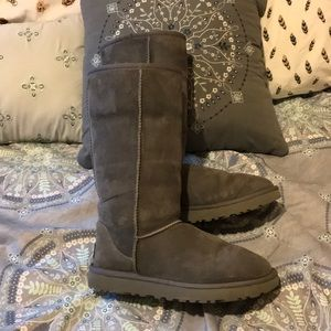 Barely broken in tall grey UGGS